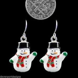 Snowman Earrings Frosty Christmas New